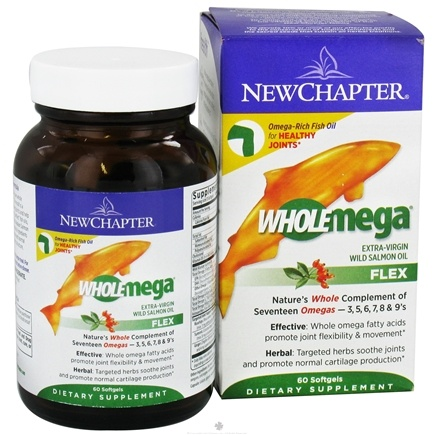 DROPPED: New Chapter - Wholemega Flex Extra-Virgin Wild Salmon Oil - 60 Softgels