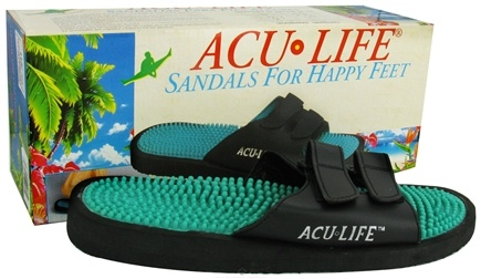 DROPPED: Acu-Life - Massage Sandals With Velcro M5/W6 Black/Teal - 1 Pair CLEARANCE PRICED