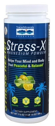 Trace Minerals Research - Stress-X Magnesium Powder Lemon Lime - 17.6 oz.