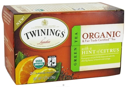 DROPPED: Twinings of London - Organic Green Tea with a Hint of Citrus - 20 Tea Bags CLEARANCE PRICED