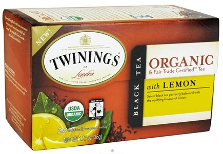 DROPPED: Twinings of London - Organic Black Tea with Lemon - 20 Tea Bags