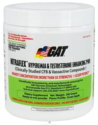 DROPPED: GAT - Nitraflex Hyperemia & Testosterone Enhancing PWD Green Apple 30 Servings - 300 Grams German American Technologies CLEARANCE PRICED