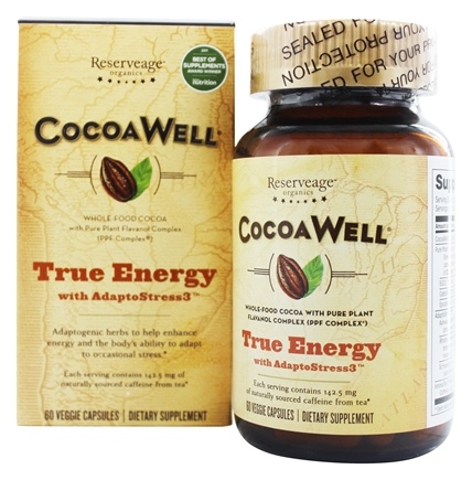 CocoaWell - True Energy with AdaptoStress3 Ashwagandha, Rhodiola, Schisandra - 60 Vegetarian Capsules Contains 3 Root Tea Ingredients