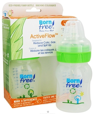 DROPPED: BornFree - Active Flow Eco Deco Baby Bottle BPA Free Twin Pack - 2 x 5 oz. Bottles, CLEARANCED PRICE