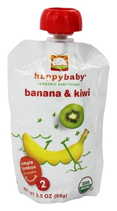 DROPPED: HappyBaby - Organic Baby Food Stage 2 Meals Ages 6+ Months Banana & Kiwi - 3.5 oz. CLEARANCE PRICED