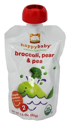 HappyBaby - Organic Baby Food Stage 2 Meals Ages 6+ Months Broccoli, Peas & Pear - 3.5 oz.