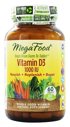 MegaFood - DailyFoods Vitamin D-3 Bioactive Form 1000 IU - 60 Vegetarian Tablets