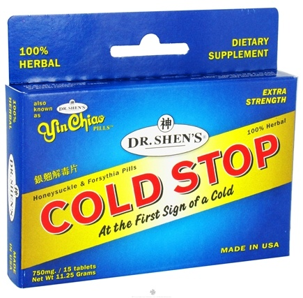 DROPPED: Dr. Shen's - Cold Stop Extra Strength 750 mg. - 15 Tablet(s) Also Known As Yin Chiao CLEARANCE PRICED