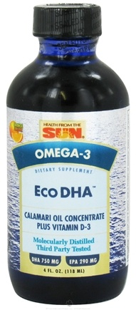 DROPPED: Health From The Sun - Omega-3 Eco DHA Calamari Oil Concentrate Plus Vitamin D-3 Orange Flavor - 4 oz. CLEARANCE PRICED