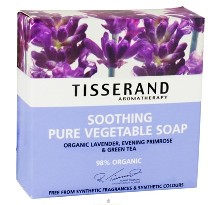 DROPPED: Tisserand Aromatherapy - Pure Vegetable Soap Soothing Organic Lavender, Evening Primrose & Green Tea - 3.5 oz. CLEARANCE PRICED