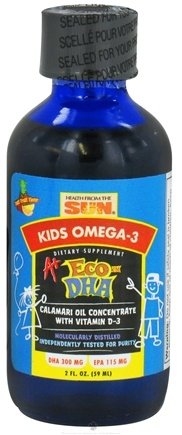 DROPPED: Health From The Sun - Kids Omega-3 A+ Eco DHA Calamari Oil Concentrate with Vitamin D-3 Tutti Frutti Flavor - 2 oz.