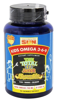 Health From The Sun - Kids Omega 3-6-9 The Total EFA Junior Chewable Orange Flavor - 90 Chewable Softgels