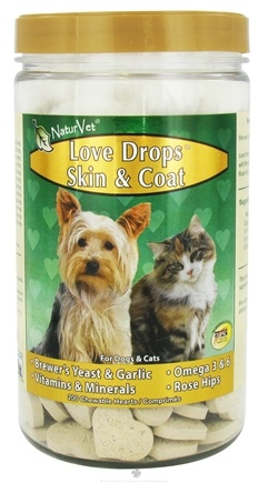 DROPPED: NaturVet - Love Drops Skin & Coat Hearts - 200 Chewables CLEARANCE PRICED