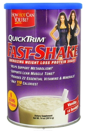 DROPPED: Kardashian - QuickTrim Fast-Shake Energizing Weight Loss Protein Shake Vanilla - 14 oz. CLEARANCE PRICED