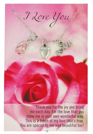 DROPPED: Zorbitz - Necklace with Meaningful Poem I Love You - CLEARANCE PRICED