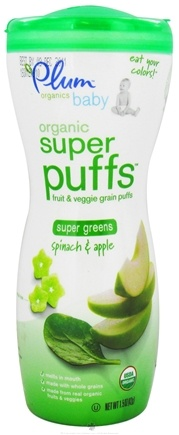 DROPPED: Plum Organics - Baby Organic Super Puffs Super Greens Spinach & Apple - 1.5 oz. CLEARANCE PRICED