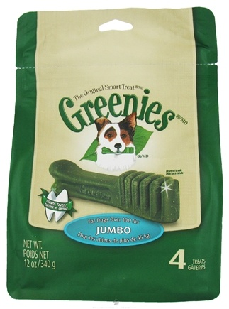 DROPPED: Greenies - Dental Chews For Dogs Jumbo (For Dogs Over 100 lbs.) - 4 Chews CLEARANCE PRICED