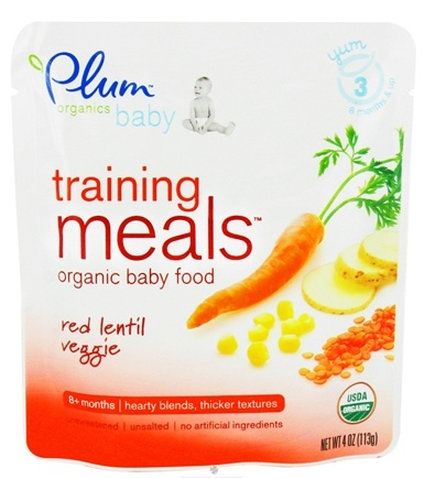 DROPPED: Plum Organics - Organic Baby Food Training Meals 8+ Months Red Lentil Veggie - 4 oz. CLEARANCE PRICED