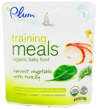 DROPPED: Plum Organics - Organic Baby Food Training Meals 8+ Months Harvest Vegetable with Turkey - 4 oz. CLEARANCE PRICED