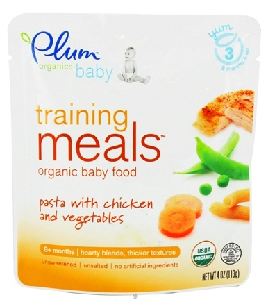 DROPPED: Plum Organics - Organic Baby Food Training Meals 8+ Months Pasta with Chicken and Vegetables - 4 oz.