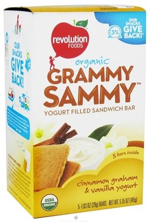 DROPPED: Revolution Foods - Organic Grammy Sammy Yogurt Filled Sandwich Bar Cinnamon Graham & Vanilla Yogurt - 5 Bars