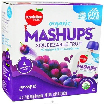 DROPPED: Revolution Foods - Organic Mashups Squeezable Fruit Grape - 4 Pouches