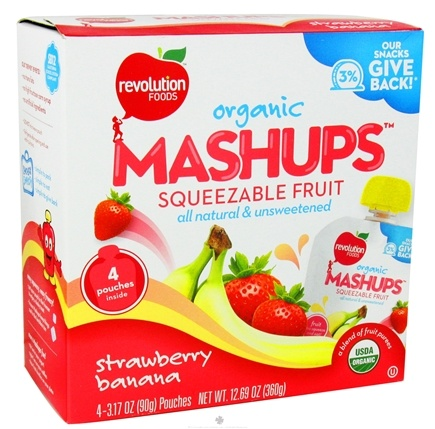 DROPPED: Revolution Foods - Organic Mashups Squeezable Fruit Strawberry Banana - 4 Pouches