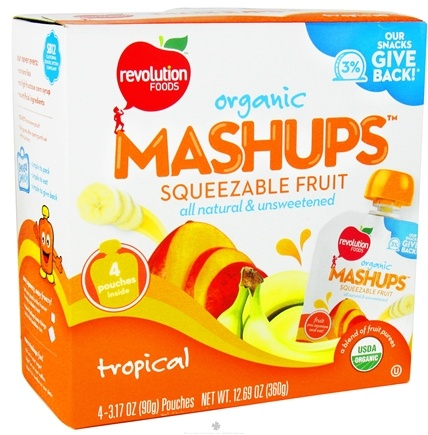 DROPPED: Revolution Foods - Organic Mashups Squeezable Fruit Tropical - 4 Pouches