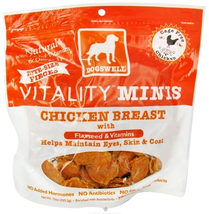 DROPPED: Dogswell - Vitality Dog Treats Minis With Flaxseed & Vitamins Chicken Breast Jerky - 15 oz. CLEARANCE PRICED