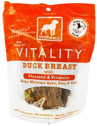 DROPPED: Dogswell - Vitality Dog Treats With Flaxseed & Vitamins Duck Breast Jerky - 5 oz. CLEARANCE PRICED