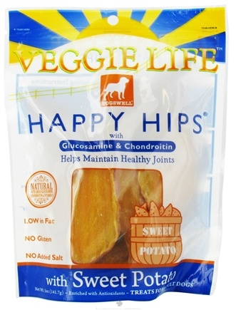 DROPPED: Dogswell - Veggie Life Happy Hips With Glucosamine & Chondroitin Sweet Potato Jerky - 5 oz. CLEARANCE PRICED