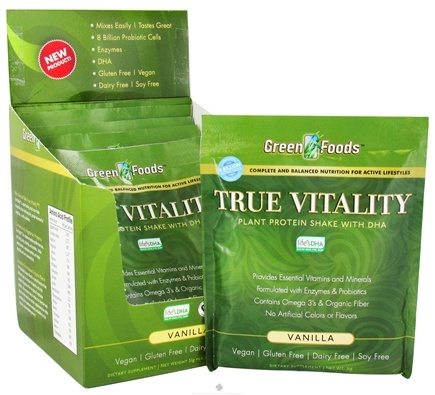 DROPPED: Green Foods - True Vitality Plant Protein Shake with DHA Vanilla - 7 Packet(s)