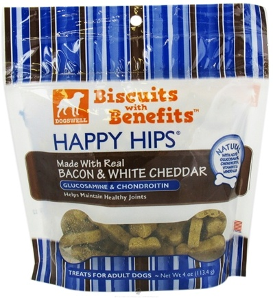 DROPPED: Dogswell - Happy Hips Biscuits With Benefits With Glucosamine & Chondroitin Bacon & White Cheddar - 4 oz. CLEARANCE PRICED