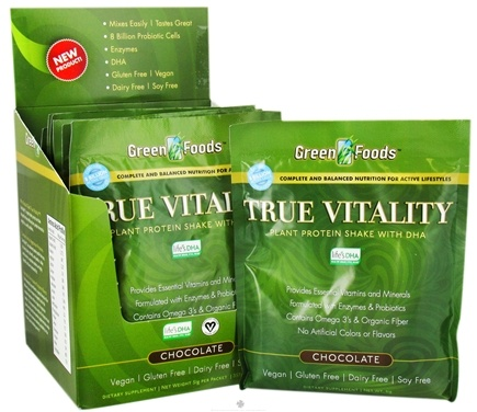 DROPPED: Green Foods - True Vitality Plant Protein Shake with DHA Chocolate - 7 Packet(s) CLEARANCE PRICED