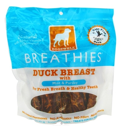 DROPPED: Dogswell - Breathies With Mint & Parsley Duck Breast Jerky - 15 oz. CLEARANCE PRICED