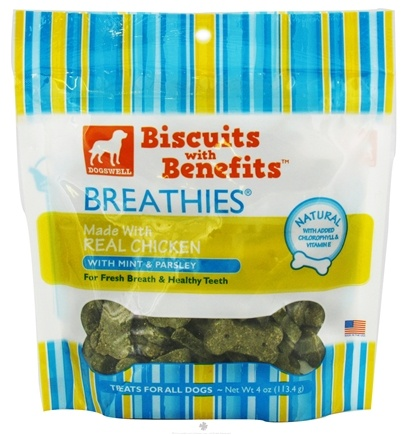 DROPPED: Dogswell - Breathies Biscuits With Benefits With Parsley & Mint Chicken - 4 oz. CLEARANCE PRICED