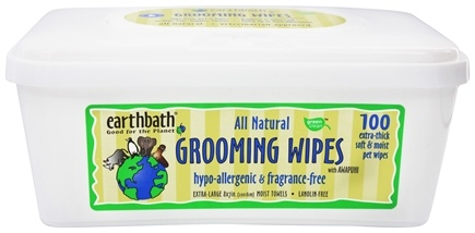 Earthbath - Grooming Wipes With Awapuhi Hypo-Allergenic & Fragrance Free - 100 Wipe(s)