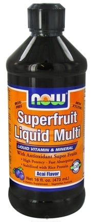 DROPPED: NOW Foods - Superfruit Liquid Multi with Xylitol Iron-Free Acai Flavor - 16 oz.