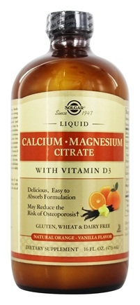 Solgar - Liquid Calcium Magnesium Citrate with Vitamin D3 Natural Orange Vanilla Flavor - 16 oz.