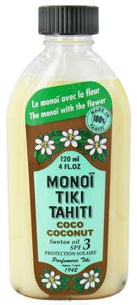 DROPPED: Monoi Tiare Tahiti - Coconut Suntan Oil Natural 3 SPF - 4 oz. CLEARANCE PRICED