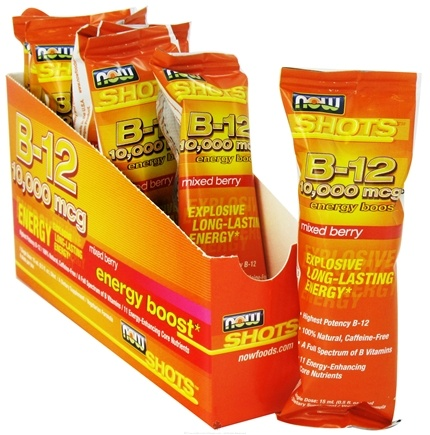 DROPPED: NOW Foods - Shots B-12 Energy Boost 8 x .5 oz. Shots Mixed Berry 10000 mcg. - CLEARANCE PRICED