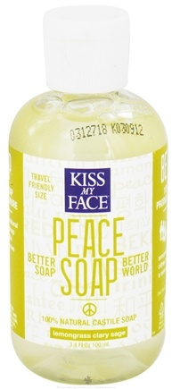 DROPPED: Kiss My Face - Peace Soap 100% Natural All Purpose Castile Soap Lemongrass Clary Sage - 3.4 oz. CLEARANCE PRICED