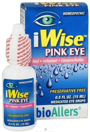 DROPPED: bioAllers - iWise Pink Eye Homeopathic Medicated Eye Drops - 0.5 oz.