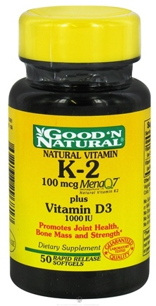 DROPPED: Good 'N Natural - Vitamin K-2 100 mcg Plus Vitamin D3 1000 IU - 50 Softgels
