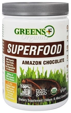 Greens Plus - Organic Superfood Powder Amazon Chocolate - 8.46 oz.