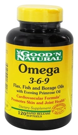 DROPPED: Good 'N Natural - Omega 3-6-9 Flax, Fish & Borage Oil with Evening Primrose Oil - 120 Softgels