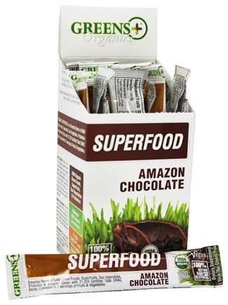 Greens Plus - Organics Superfood Stick Pack Box Amazon Chocolate - 15 Stick(s)