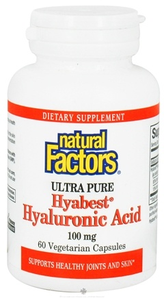 DROPPED: Natural Factors - Hyabest Hyaluronic Acid Ultra Pure 100 mg. - 60 Vegetarian Capsules CLEARANCE PRICED