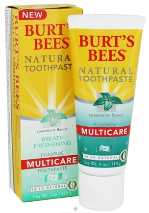 DROPPED: Burt's Bees - Natural Toothpaste Multicare Gel with Fluoride Spearmint Flavor - 4 oz. CLEARANCE PRICED