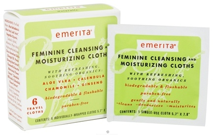 DROPPED: Emerita - Feminine Hygiene Cleansing Moisturizing Cloths with Refreshing Soothing Organics - 6 Cloth(s) CLEARANCE PRICED
